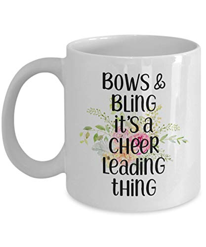 Funny Cheerleading Gifts Coffee Mug Tea Cup For Him Her Men Women Floral Bows And Bling Its A Cheer Leading Thing