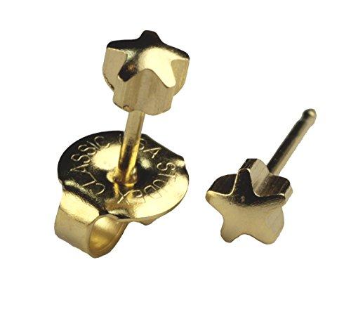 Ear Piercing Earrings Gold 4mm Star Studs