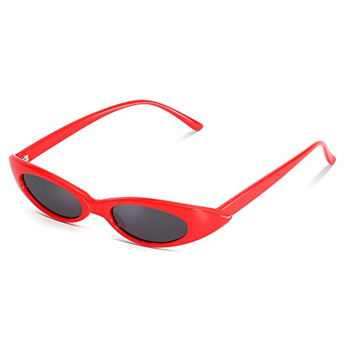 (LOOKEYE Small Cateye Sunglasses Oval Clout Goggles Vintage Mod Chic Candy Shades for Women and Man, Red Frame and Grey Lens )