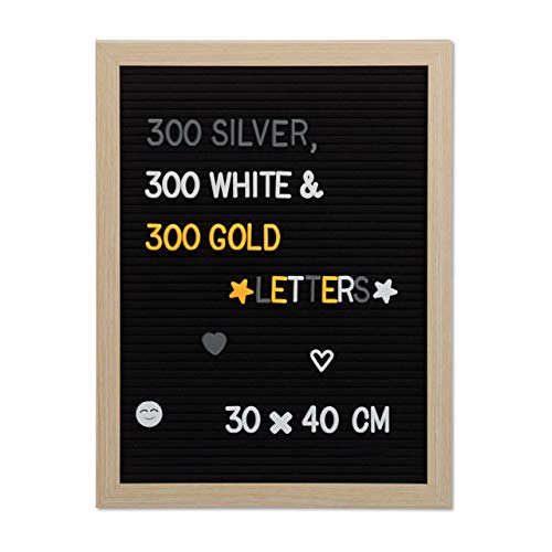 Relaxdays Letter Board 40 x 30 cm Wooden 900 x Letters Retro Grooved Board Pegboard Wall Mounted Black by Relaxdays (Image #9)