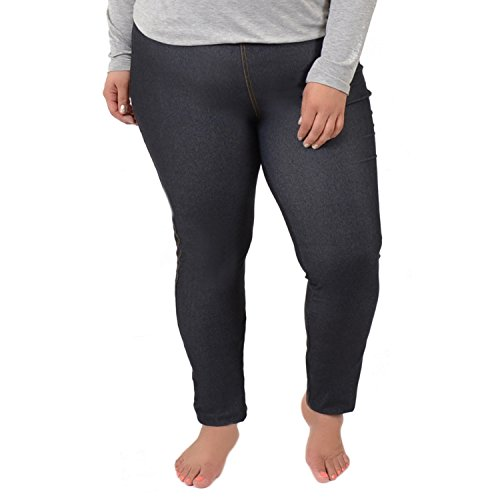 (Stretch is Comfort Women's Cotton Plus Size Leggings Denim Black 4X)