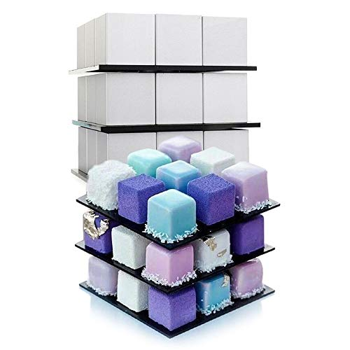 Littleice DIY 3D Metal Cube Cake Mold Three-Layer Rotation Mousse Cake Dessert Bake Mold Baking Mold -
