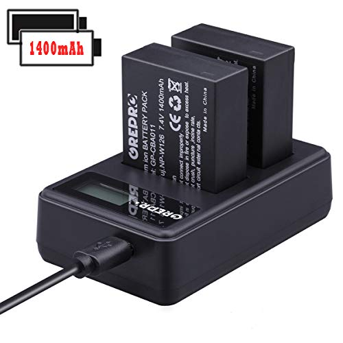 Grepro Rechargable Battery Charger Set for Camera 2 Pack Lithium-Ion Battery Charger Kit 100% Compatible with Fujifilm NP-W126 FinePix HS30EXR HS35EXR HS50EXR X-A1 X-E1 X-E2 X-M1 X-Pro1 X-T1 ()