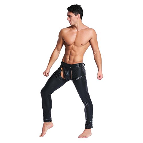 Catsuit Men's Faux Leather Tight Pants Open Crotch Leggings Long Trousers,XL -