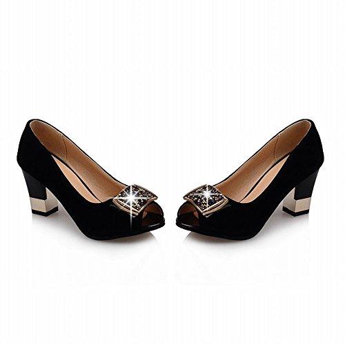 Carolbar Womens Rhinestone Peep Toe Cuff Fashion High Chunky Heel Dress Pumps Shoes Black SogWKT