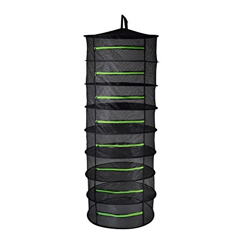 BoHoFarm Herb Drying Rack Herb Dryer Net w/Zippers Black Mesh Tray Dry (D24 xH67 8-Tier, Black w/Green Zippers)