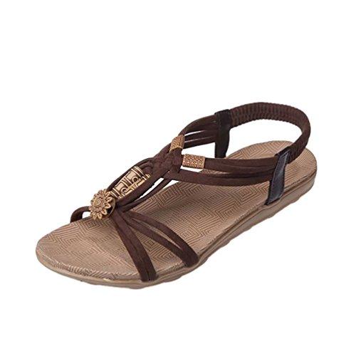 YOUJIA Damen Strand Sandale Casual Peep-Toe Flache Sandalen Schuhe Sommer Sandalen Braun