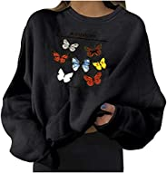 Oversize Sweatshirts for Women Long Sleeve O-Neck Pullover Butterfly Print Tops Comfort Blouses