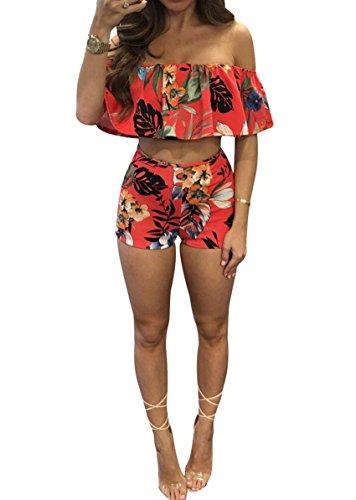Women Sexy Off Shoulder Ruffle Short Pants Floral Print Slim Party 2 Pieces Set