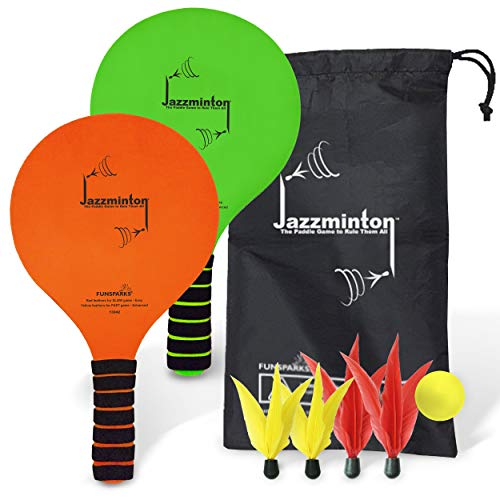 Funsparks Jazzminton Paddle Ball Game with Carry Bag - Indoor Outdoor Toy - Play at The Beach, Lawn or Backyard - 2 Wooden Racquets - 4 Shuttlecocks - 1 Ball ()