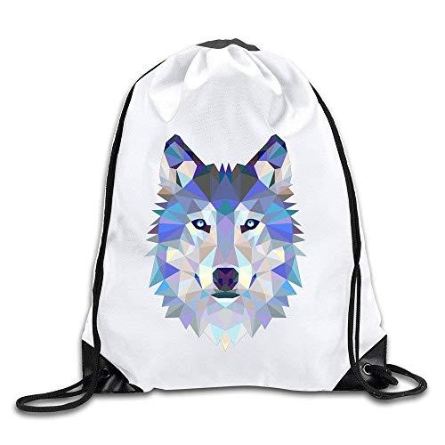 Bnialaed Triangle Wolf Drawstring Backpack Bag Lightweight Drawstring Gym Yoga Runner Bags For Men Women ()