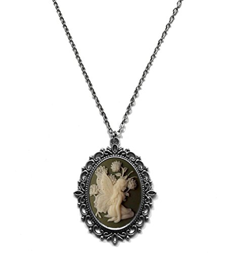 Victorian Vault Fairy Green Cameo Steampunk Gothic Pendant Necklace on Chain