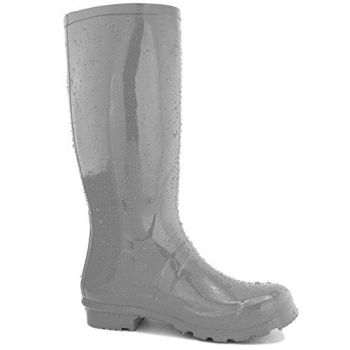 DailyShoes Damen Mittelkalb Kniestrumpf Hunter Regen Round Toe Rainboots Grau