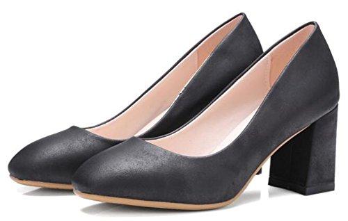 Idifu Classiche Da Donna Con Punta Squadrata A Tacco Medio, Slip On Pumps Shoes Nere