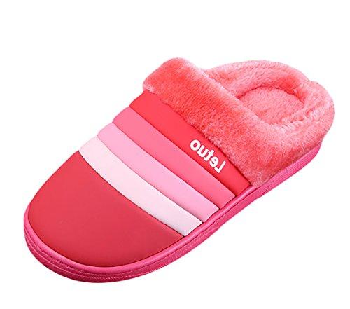 Insun Winter Slippers Voor Vrouwen Pluche Slippers Thuis Rode Strepen