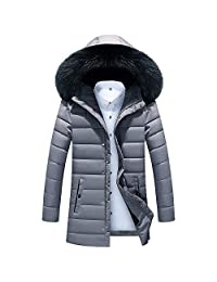 PENATE Men's Winter Warm Jacket Plush Hooded Cotton Long Slim Thick Coat Outwear