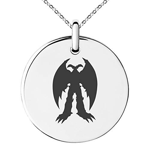 - Tioneer Yu-Gi-Oh! Summoned Skull Silhouette Stainless Steel Small Medallion Circle Charm Pendant Necklace