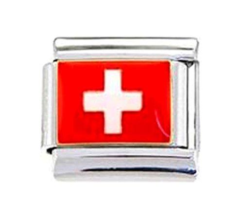 Stylysh Charms SWITZERLAND SWISS FLAG Enamel Italian 9mm Link PE034 - Flag Enamel Italian Charm