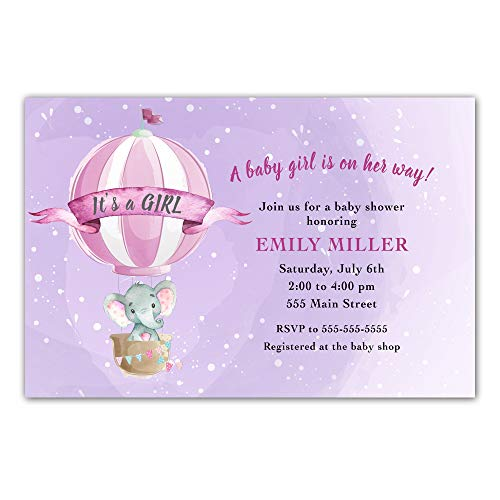 30 Invitations Elephant Baby Girl Shower Personalized Cards Photo Paper