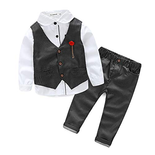 Toddler Little Boys' Dressy 3 Pieces Cotton Clothes Set with Vest, Shirt and Pant Gray Size 2 KB865 -