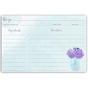 recipe cards hydrangeas mason jar hydrangea purple blue indigo