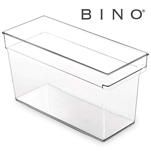 BINO Clear Plastic Storage Bin with Built-In Pull Out Handle – (Deep, Medium) – Storage Bins for Home, Kitchen, and Bath – Refrigerator, Freezer, Cabinet, Closet, Pantry Organization and Storage
