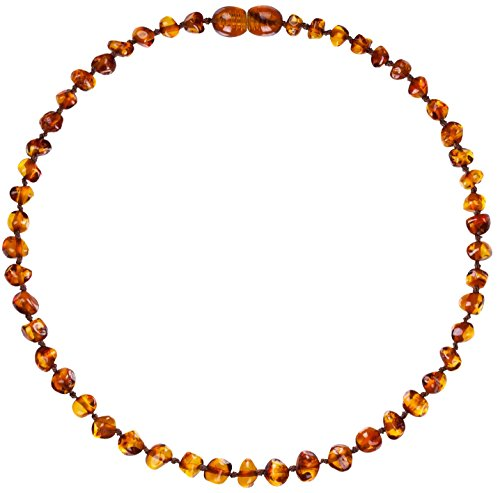 Mommy's Touch 100% Natural Amber Teething Necklace (Cognac) - Anti-Inflammatory & Teething Pain Reducing Properties Unisex Necklace With Twist-in Screw Clasp