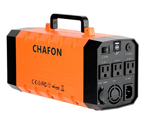 Chafon 346WH Portable UPS Battery Backup,Rechargeable Power Source with 110V/500W AC Outlet,12V Car,USB Output,Car Jump Starter for Outdoors and Indoors -Orange