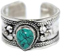 Adjustable Turquoise Ring Silver Ring, Yoga Ring, Meditation Ring, Boho Ring, Hippie Ring