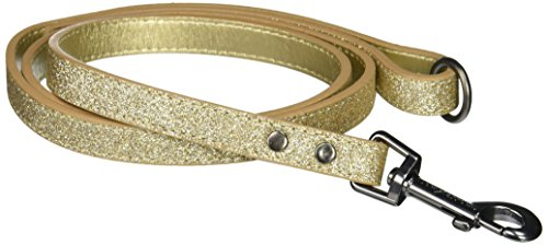 - Bow & Arrow PU Leather Glitter Gold Dog Leash with Pewter Hardware, 5/8