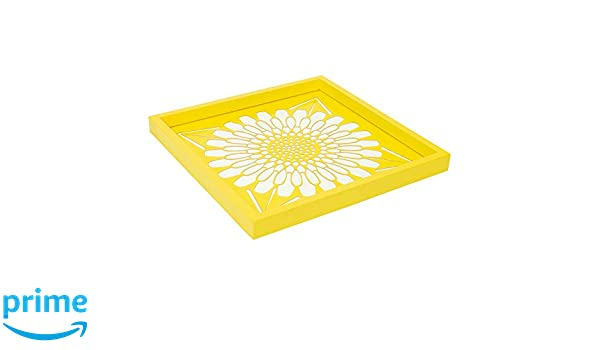Amazon.com: Drew Derose Floral Yellow And White 12 x 12 Wood ...