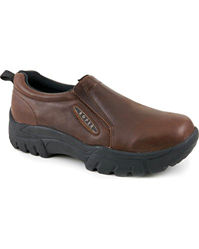 (ROPER Men's Performance Smooth Leather Slip-On Shoes Round Toe Brown 12 D(M))