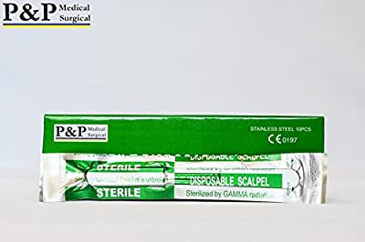 SCALPEL DISPOSABLE SURGICAL BLADE Size 10 ( 1 box = 10 scalpels) STERILE with PLASTIC HANDLE and METRIC LINE on it, DESIGNED in USA