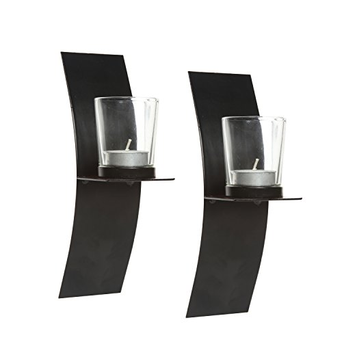 9 Wall Sconce Tall - Hosley's Set of 2, Modern Art Large Wall Sconces with Clear Glass Votive Candle holders-9