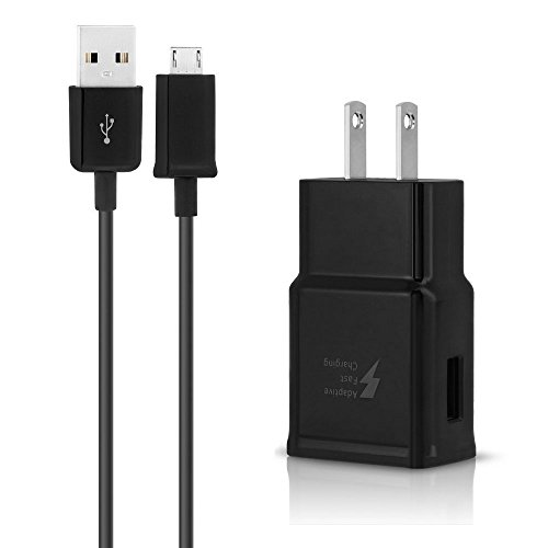 Dkaile Micro USB Android Cell Phone Adaptive Fast Charger for Samsung Galaxy S7/S7 Edge/S6/Edge/Edge+/Note 4/5, LG G2 G3 G4 (Black Wall Charger + 5FT Cable) by Dkaile (Image #1)