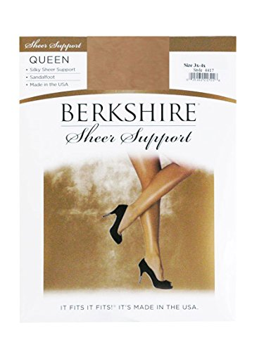 Berkshire Women's Plus-Size Queen Silky Sheer Support Pantyhose 4417 - Sandalfoot, City Beige, 5X-6X
