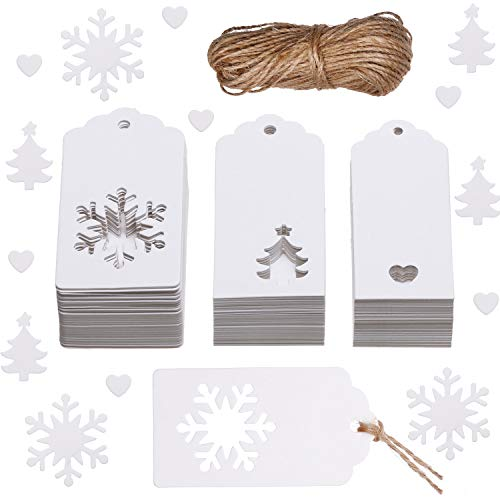 - Leinuosen 150 Pieces Christmas Gift Tags Kraft Gift Tags Snowflake, Heart and Christmas Trees Shapes with 20 Meters Twine for DIY Arts and Crafts, Christmas and Holiday (White)