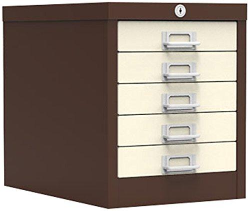 Simply Office MULT5DBRB 5 Drawer Locking Multi-Drawer - Brown/Beige