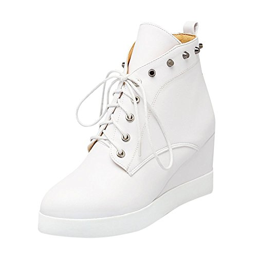 Carolbar Womens Lace Up Studded Fashion Platform Wedge Heel Dress Boots White iV9K2kc5