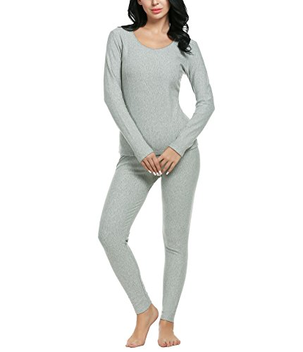 Women Long Sleeve Pajama Set Solid Cotton Thermal Underwear 2 Piece Top and Bottom (Gray M)