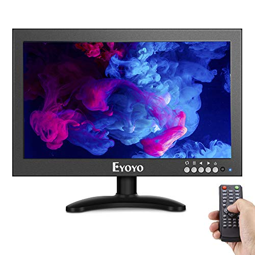 (Eyoyo 12'' Inch IPS HDMI Monitor, 1366 x 768 16:9 HD TFT Metal Housing LED Display Screen Support HDMI AV BNC VGA USB Input with Stand and Wall Bracket for PC Laptop TV Box CCTV Camera,Home Security)