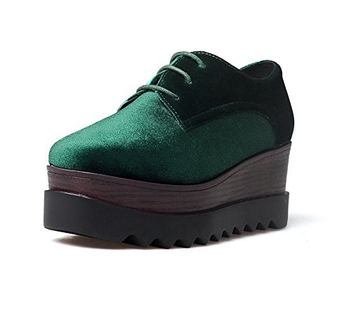VogueZone009 Damen Schnüren Quadratisch Zehe Mittler Absatz Blend-Materialien Rein Pumps Schuhe Grün