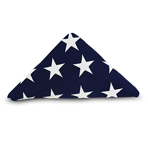 Anley [Memorial Flag American US Flag 5x9.5 Foot Heavy Duty Cotton For Veteran - Embroidered Stars and Sewn Stripes - 4 Rows of Lock Stitching - USA Burial Casket Flags with Brass Grommets 5 X 9.5 Ft (Memorial Flag)