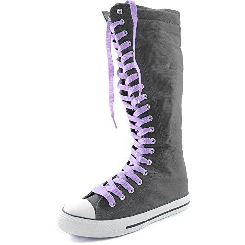 Damestas Womens Canvas Mid Kalf Lange Laarzen Casual Sneaker Punk Flat, Lavendel Grijze Laarzen, Lavendel Kant