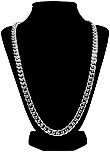 Luxury Silver Cuban Link Chain Stainless Steel Necklace For Men + Gift Case