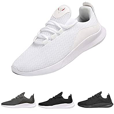 PAGBOJAS Men's Trail Running Shoes for Casual Athletic Gym Walking Tennis Sports Workout Fitness, Breathable Mesh Fashion Sneakers,White,Size 7