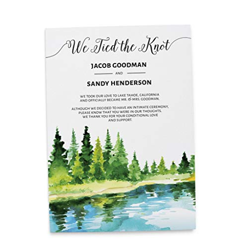 We Tied the Knot Elopement Wedding Announcement Cards - Marriage Reception Invitation - We Eloped Party Invites - Custom, Personalized, Unique Card Stock - Lake Side Theme Design ()