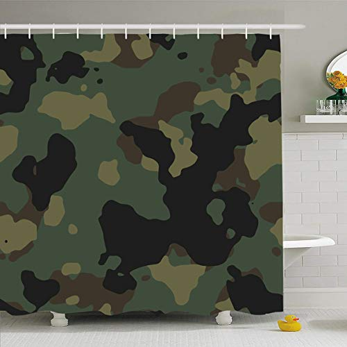 (Ahawoso Shower Curtain 72x72 Inches Military Brown Camouflage Us Army Woodland Camo Pattern USA Technology Green Camoflauge Camoflage Waterproof Polyester Fabric Set with Hooks)