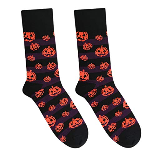 Tebatu Unisex Halloween Bats/Pumpkin Patterns Cotton Long Crew Socks Lovers Couples Harajuku Style Contrast Color Cosplay Costume(1Pair) -