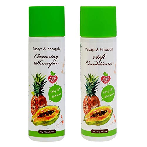 Papaya & Pineapple Natural Shampoo and Conditioner Set | Damaged, Frizzy, Brittle & Dry Hair Repair Treatment| Deep Conditioning, Hydrating & Moisturizing for Smooth, Soft, Silky Hair For Women (Best Shampoo For Thin Dry Frizzy Hair)